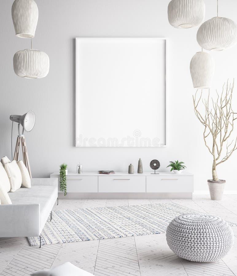 Verspotten Sie herauf Plakatrahmen im Innenhintergrund, skandinavische Art lizenzfreies stockbild