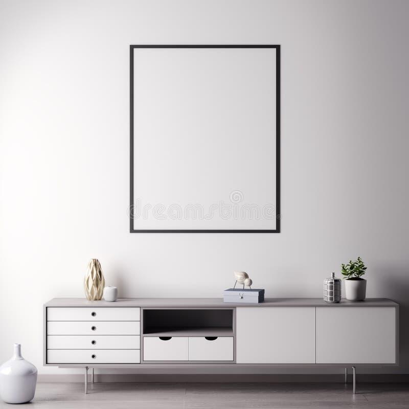 Verspotten Sie herauf Plakatrahmen im Innenraum mit weißer wal, moderner Art, Illustration 3D stockfotografie