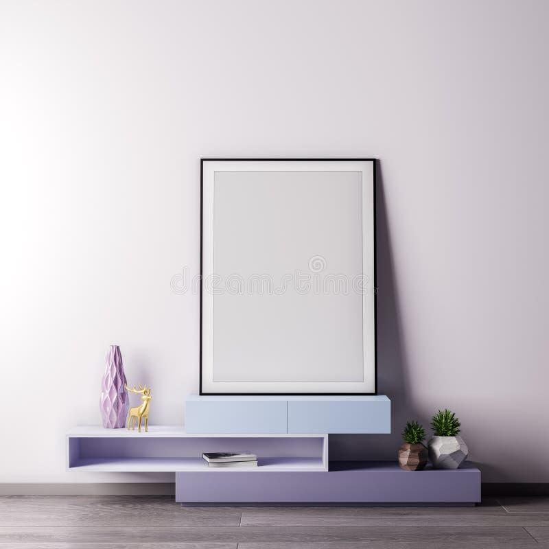 Verspotten Sie herauf Plakatrahmen im Innenraum mit weißer wal, moderner Art, Illustration 3D stockfoto