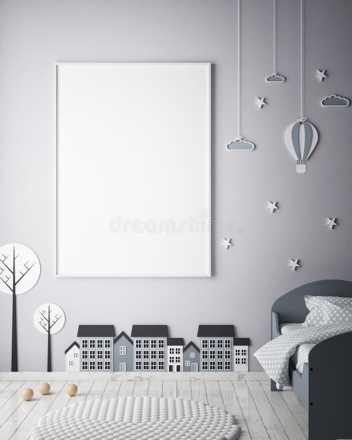 Verspotten Sie herauf Plakatrahmen im Kinderschlafzimmer, Innenhintergrund der skandinavischen Art, 3D übertragen stock abbildung