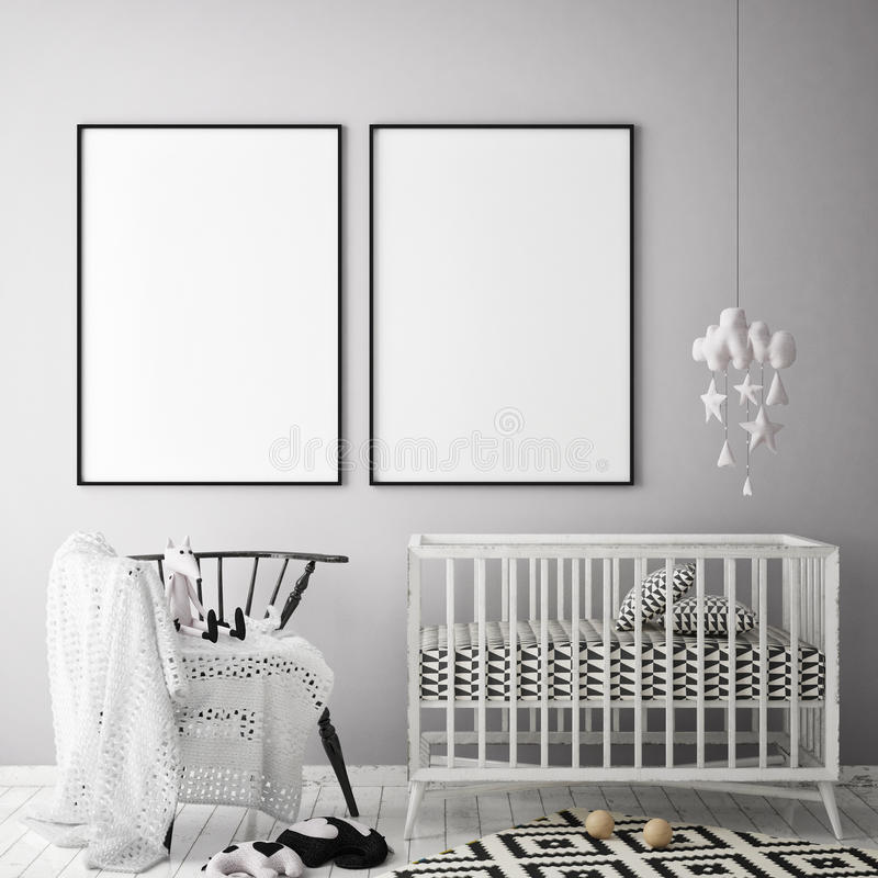 Verspotten Sie herauf Plakatrahmen im Kinderschlafzimmer, Innenhintergrund der skandinavischen Art, 3D übertragen vektor abbildung