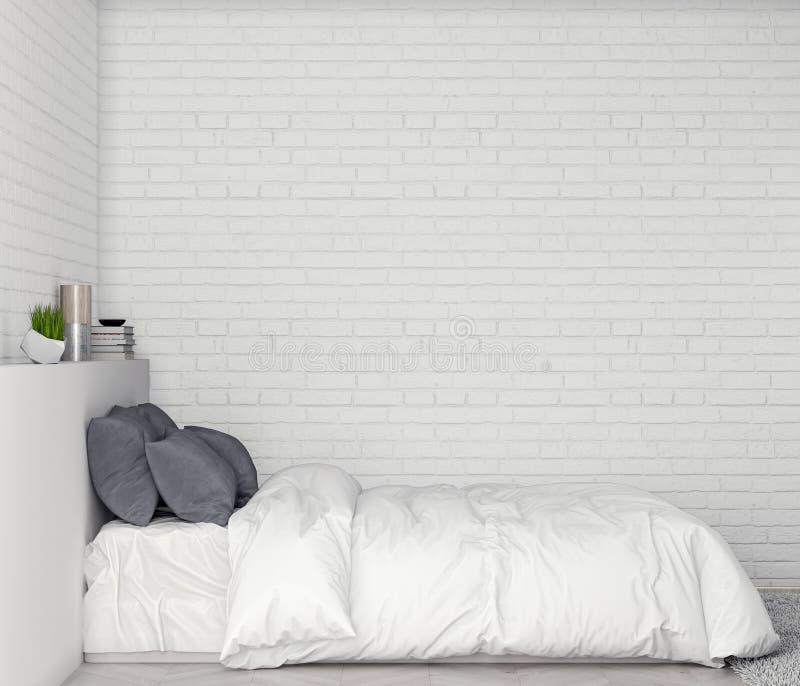 Verspotten Sie herauf Plakatrahmen im Schlafzimmerinnenhintergrund mit Backsteinmauer, Illustration 3D lizenzfreie abbildung