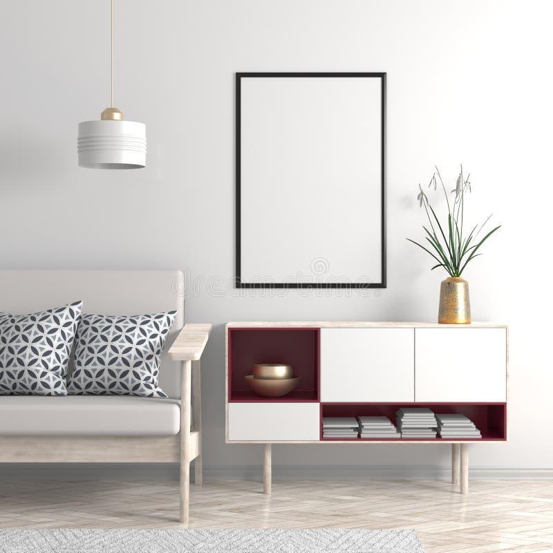 Verspotten Sie herauf Plakatrahmen im skandinavischen Arthippie-Innenraum 3d stockbilder