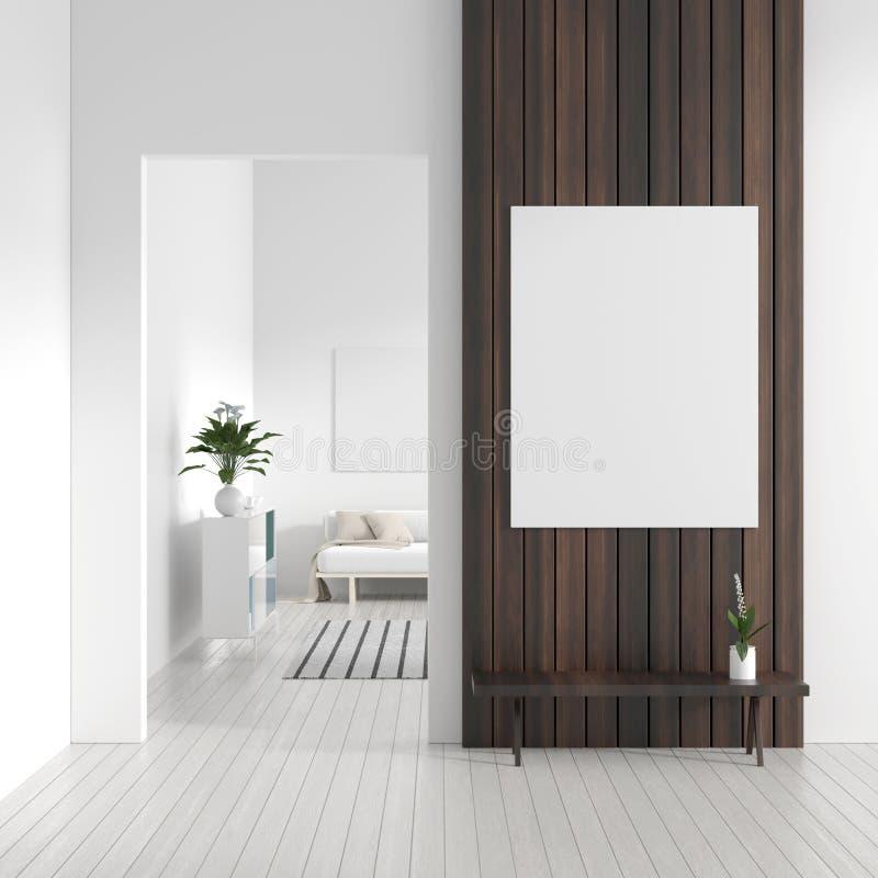 Verspotten Sie herauf Plakatrahmen im skandinavischen Arthippie-Innenraum Weißer moderner Innenraum des modernen Wohnzimmers Abbi stock abbildung