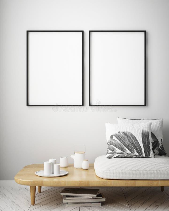 Verspotten Sie herauf Plakatrahmen im tropischen Innenhintergrund, moderne karibische Art vektor abbildung