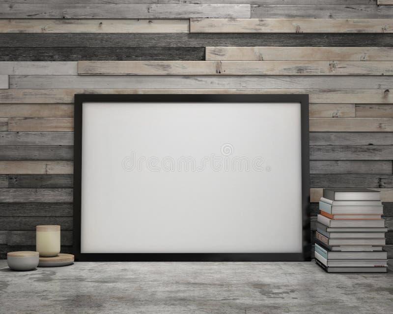 Verspotten Sie herauf Plakatrahmen im Weinlesehippie-Dachbodeninnenraumhintergrund lizenzfreie abbildung
