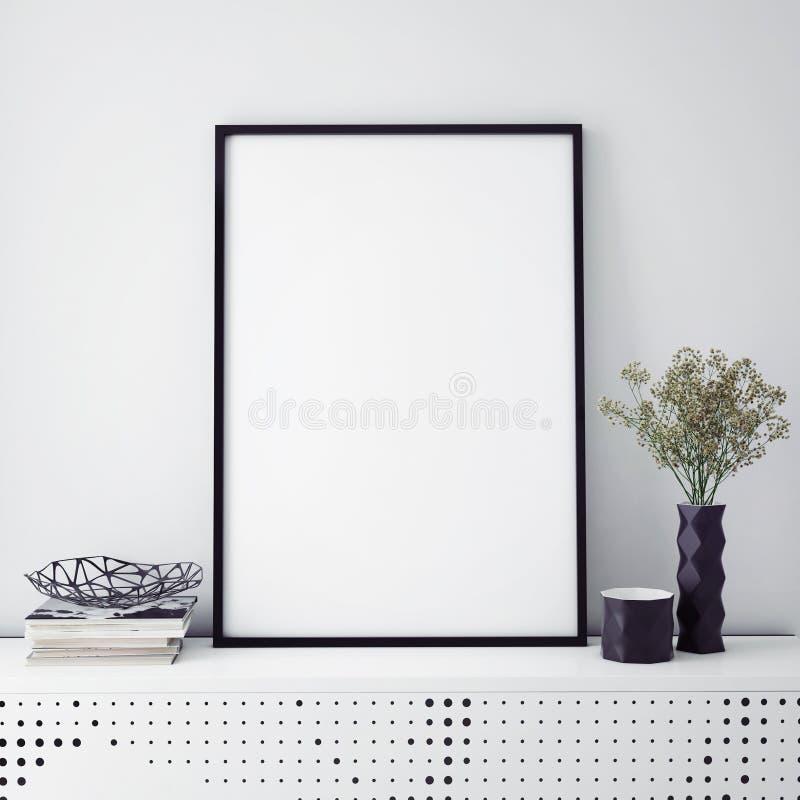 Verspotten Sie herauf Plakatrahmen mit auf Retro- Kommode, Hippie-Innenhintergrund, vektor abbildung