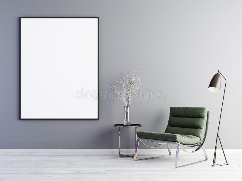 Verspotten Sie herauf Plakatrahmen mit grüner Lehnsessel- und Metalltabelle im einfachen Wohnzimmerinnenraum vektor abbildung