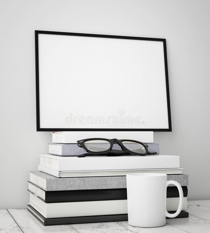 Verspotten Sie herauf Plakatrahmen mit Innenhintergrund auf Stapel von Büchern, lizenzfreies stockfoto