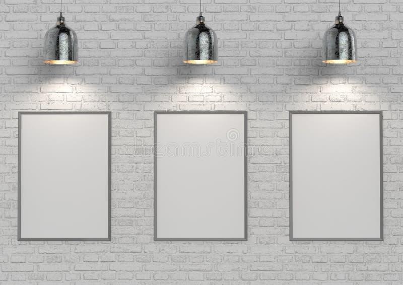 Verspotten Sie herauf Poster auf weißer Backsteinmauer mit Lampe Abbildung 3D lizenzfreie stockbilder