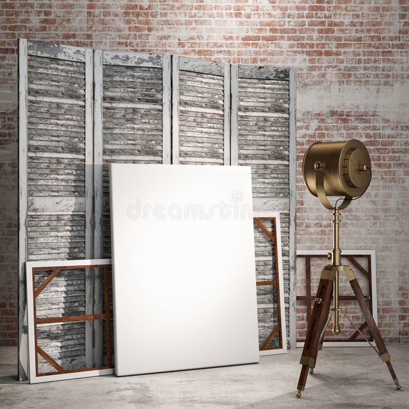 Verspotten Sie herauf Poster im Dachbodeninnenraum mit Industrielampe, Hintergrund lizenzfreie abbildung