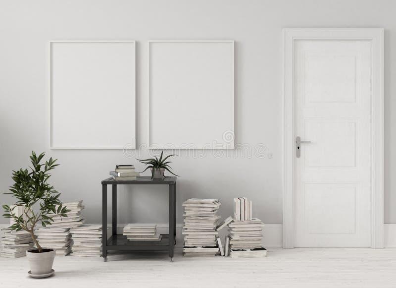 Verspotten Sie herauf Poster im Wohnzimmer mit Stapel von Büchern stock abbildung
