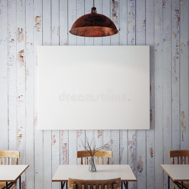 Verspotten Sie herauf Poster mit Innenhintergrund des Retro- Hippie-Caférestaurants, 3D übertragen