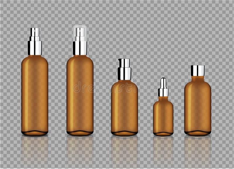 Verspotten Sie herauf realistische glatte Amber Transparent Glass With Metallic-Kappe für kosmetische Seife, Shampoo, Creme, Öl-T lizenzfreie abbildung
