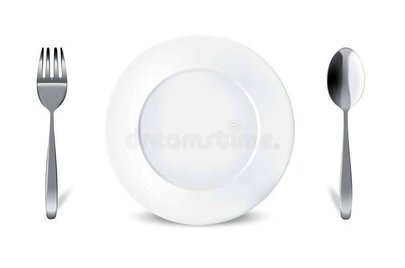 Verspotten Sie herauf realistische weiße Platte oder Teller, Metalllöffel und Gabel auf Speisetische für Lebensmittel lokalisiert vektor abbildung