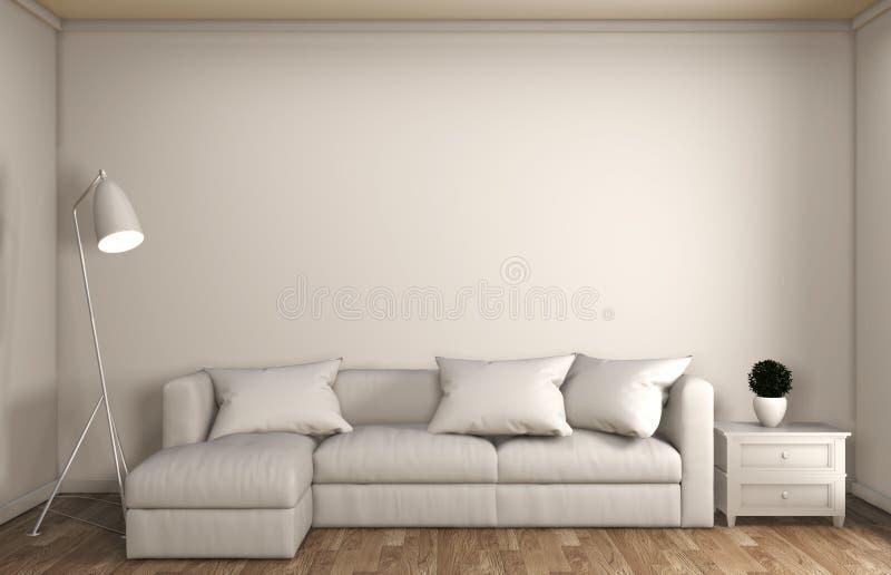 Verspotten Sie oben Schein herauf japanische Art der Wohnzimmerdekoration, entwarf minimale Zenart Wiedergabe 3d lizenzfreie abbildung