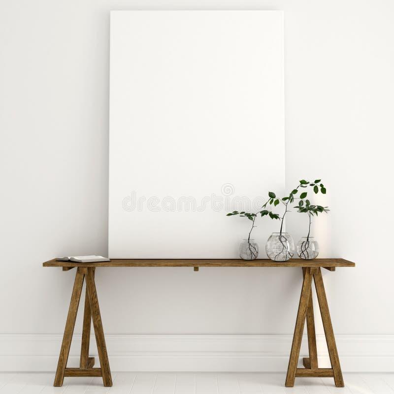 Verspotten Sie oben von einem weißen Segeltuch auf einem Holztisch in einem hellen Innenraum lizenzfreie abbildung