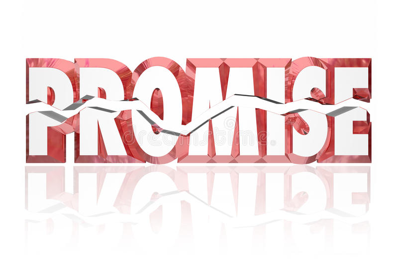 Versprechen gebrochenes gebrochenes Wort des Rot-3d stock abbildung
