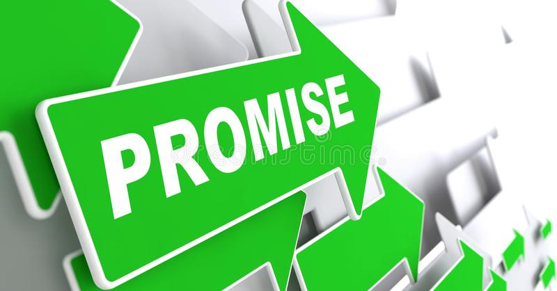 Versprechen-Wort auf grünem Pfeil. vektor abbildung
