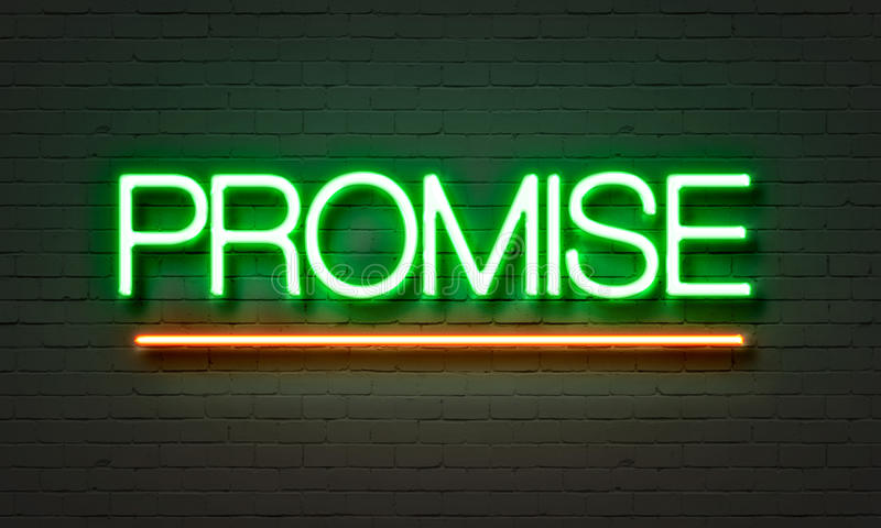 Versprechenleuchtreklame auf Backsteinmauerhintergrund stock abbildung