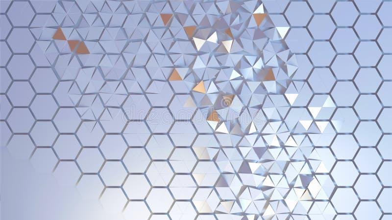 Verspreid hexagon geometrisch perspectiefnet vector illustratie