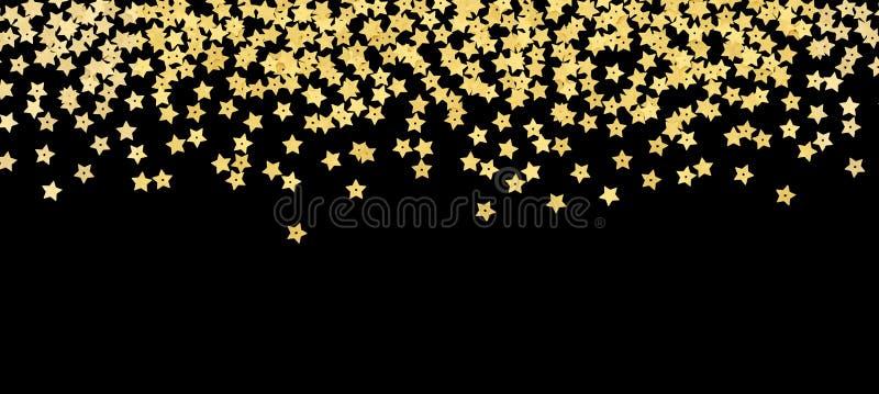 Verspreide gouden de confettiengrens van de stervorm royalty-vrije stock afbeelding