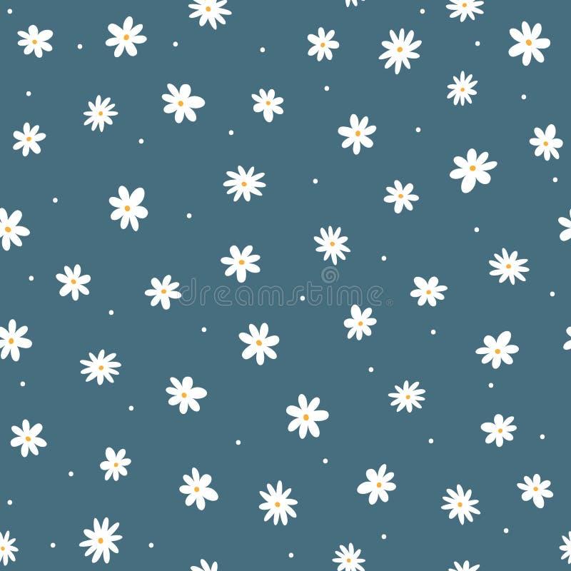 Verspreide kleine madeliefjes en ronde punten Leuk bloemen naadloos patroon royalty-vrije illustratie