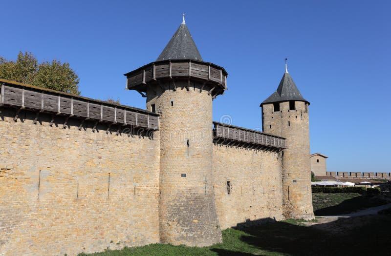 Verstärkte Wand von Carcassonne stockbilder