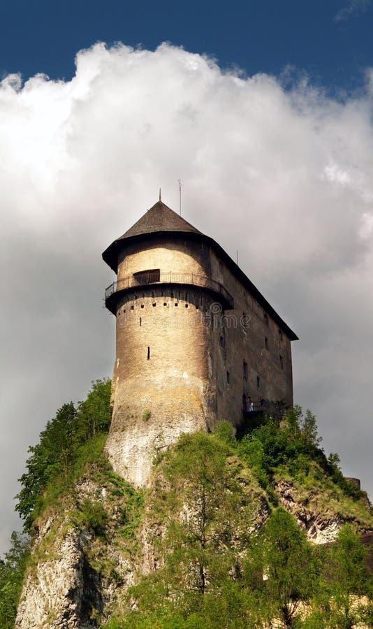 Verstärkung auf dem hohen Felsen - Orava Schloss lizenzfreies stockbild
