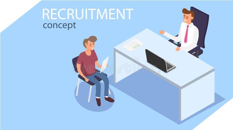 verstärkung Isometrisches Einstellungs-Konzept Büroangestellte sitzen in isometry Eine Person wird interviewt lizenzfreie abbildung