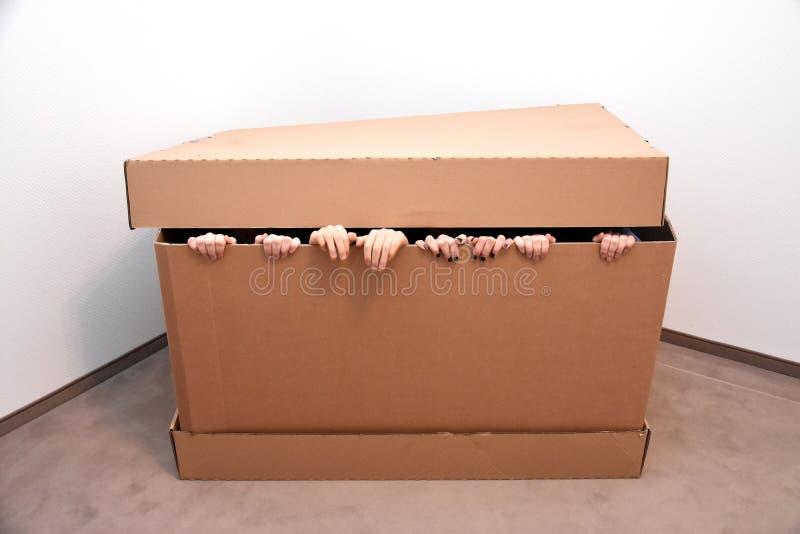 Verstecken in einem rechteckigen Kasten stockfotografie