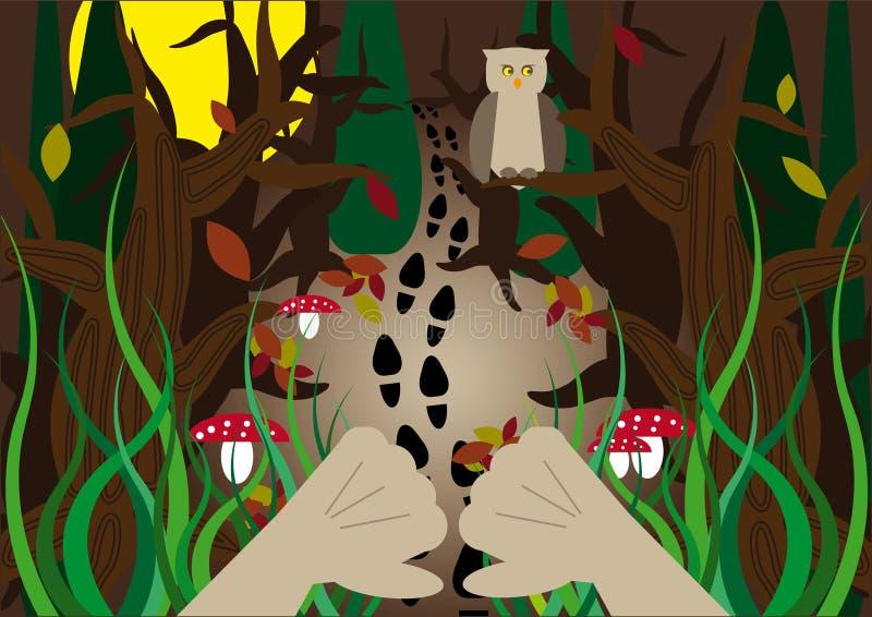 Versteckte Waldspuren lizenzfreie abbildung