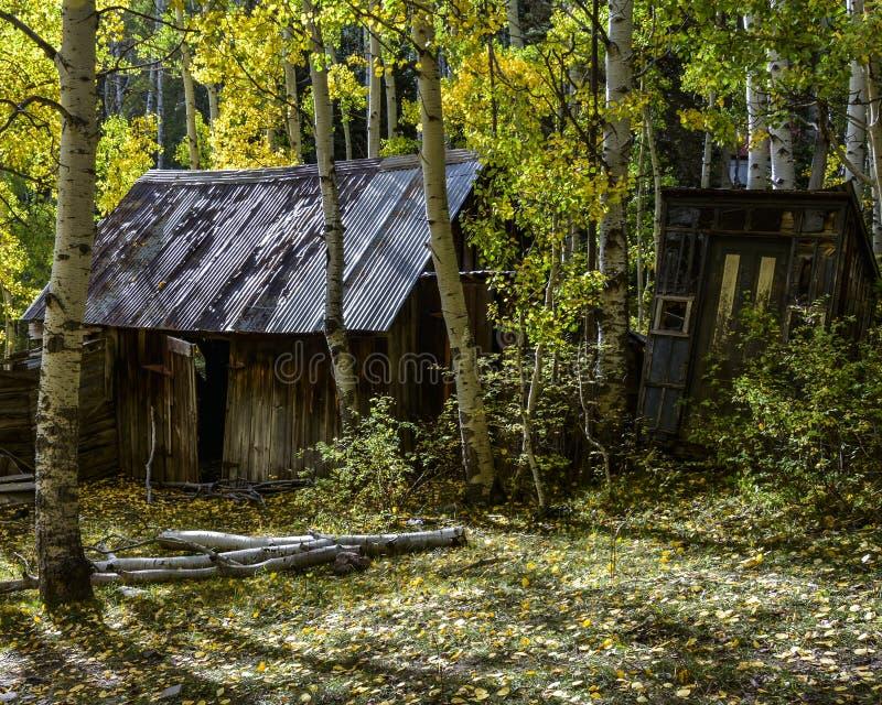Verstecktes historisches verlassenes Haus mit heraus bringen vom wilden Westen im Fall unter stockbild