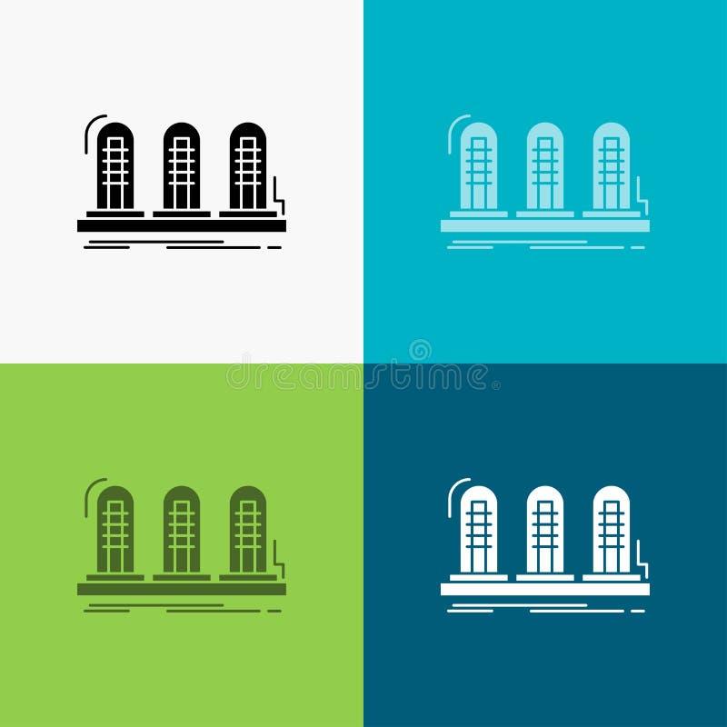 versterker, analogon, lamp, geluid, buispictogram over Diverse Achtergrond glyph stijlontwerp, voor Web dat en app wordt ontworpe stock illustratie