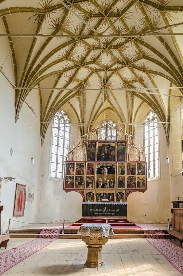Versterkt Kerkbinnenland in Transsylvanië royalty-vrije stock foto's