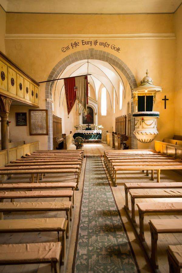 Versterkte Evangelische Kerk van Cincsor, Transsylvanië, Roemenië stock foto's