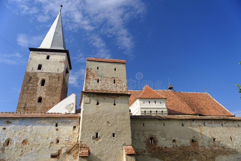 Versterkte kerk, Valea Viilor, Roemenië stock foto