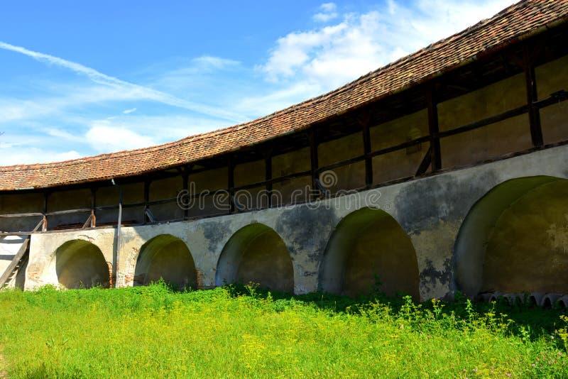 Versterkte middeleeuwse kerk in Wijngaardvallei, Transsylvanië stock afbeelding