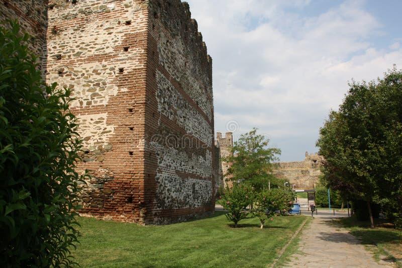 Versterkte Muur in Stad van Thessaloniki royalty-vrije stock afbeelding
