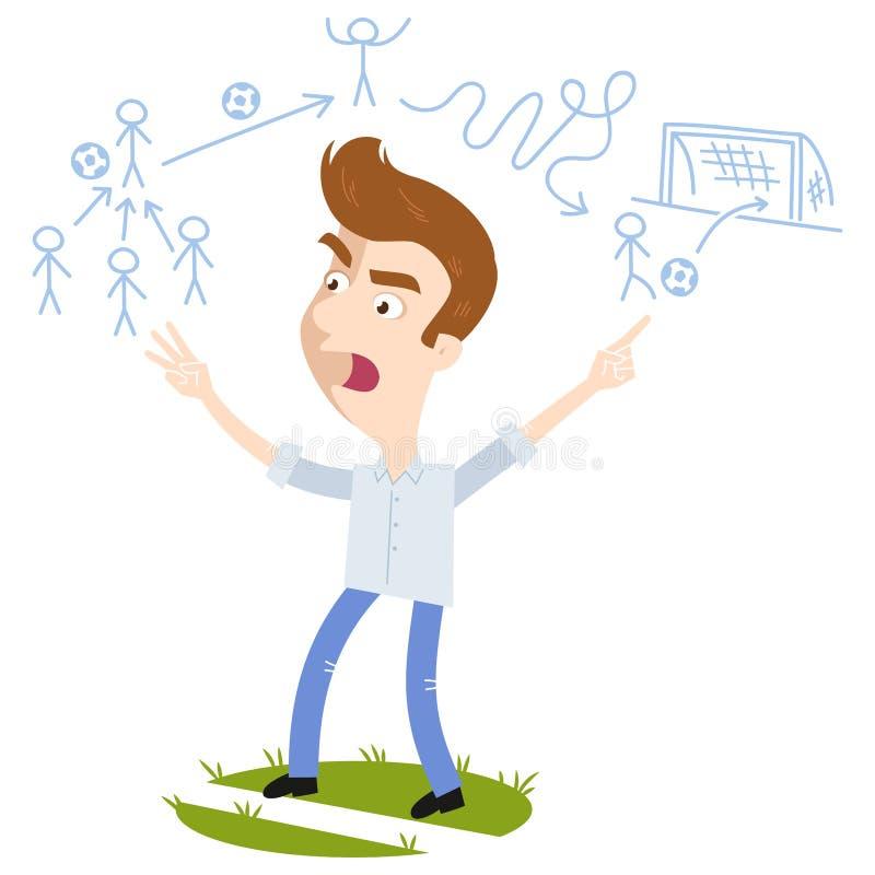 Verstoor de jonge bus die van de beeldverhaalvoetbal wit overhemd en blauwe broek dragen schreeuwend gevend ingewikkelde instruct royalty-vrije illustratie