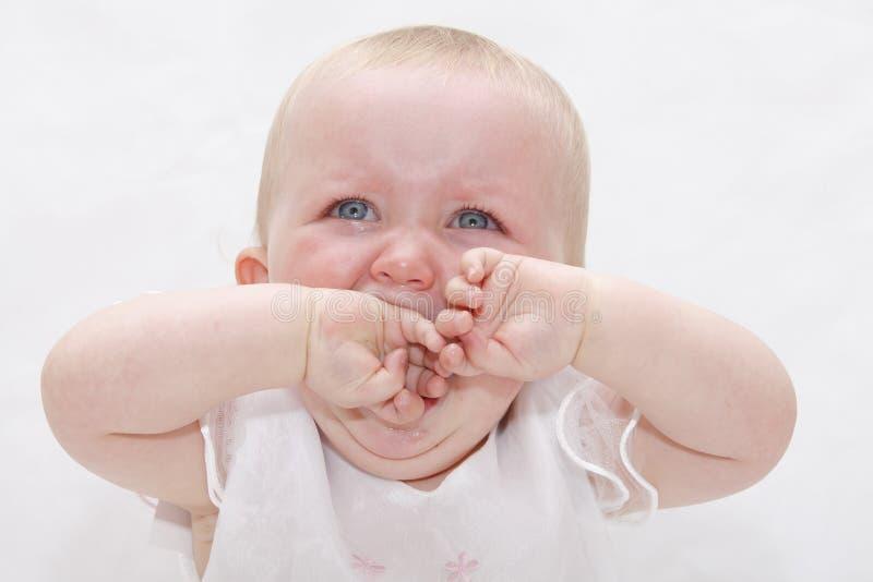 Verstoorde schreeuwende baby royalty-vrije stock afbeeldingen
