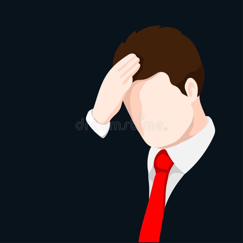 Verstoorde zakenman die zijn hoofd-vectorillustratie clutching vector illustratie