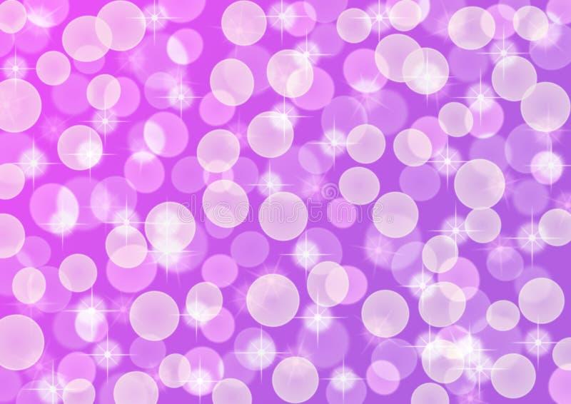 Verstralers, Bokeh en Schitterende Fonkelingen in Purple en Violet Gradient Background stock fotografie