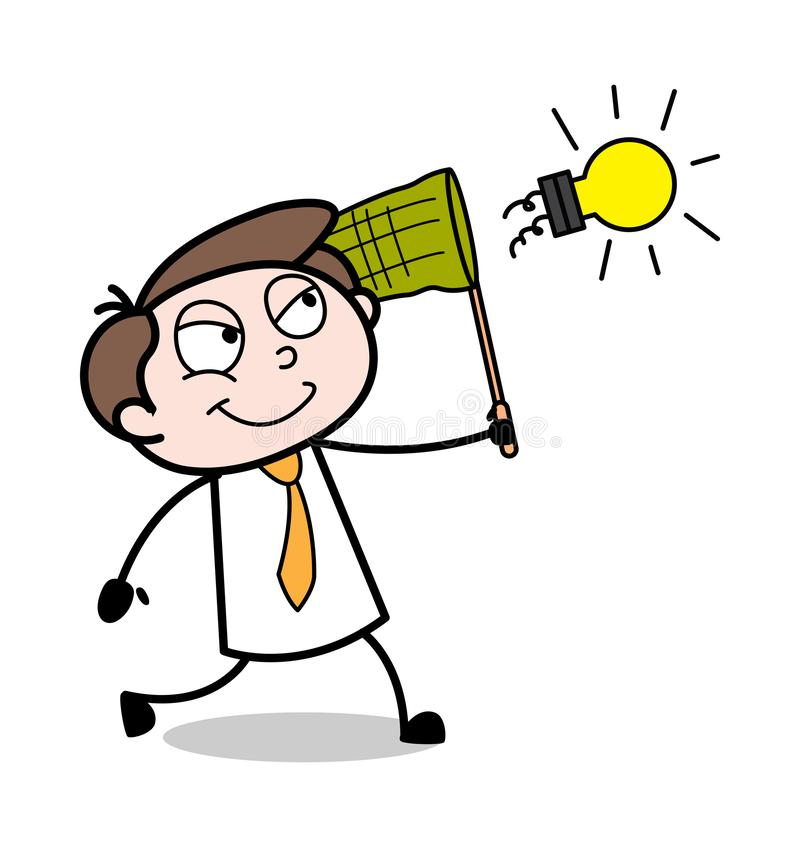 Versuchen, eine Birne zu fangen - Büro-Geschäftsmann-Employee Cartoon Vector-Illustration stock abbildung