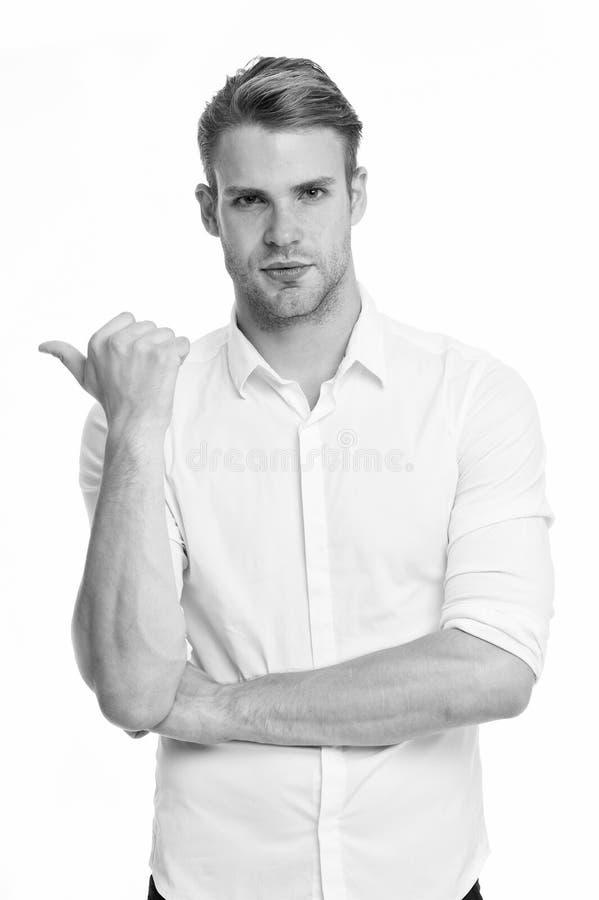 Versuchen Sie dieses Modell Bemannen Sie das überzeugte Gesicht, das bereit ist, weißem Hintergrund zu helfen Kerl mit der Borste stockbild
