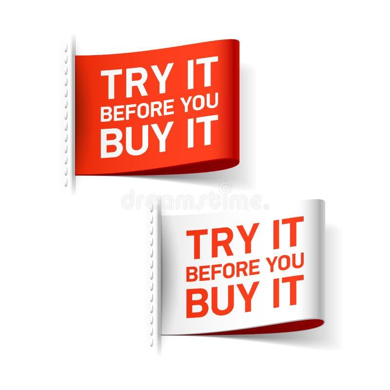 Versuchen Sie es, bevor Sie es Aufkleber kaufen stock abbildung
