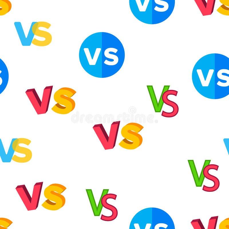 VERSUS Afkorting, tegenover Vector Naadloos Patroon vector illustratie