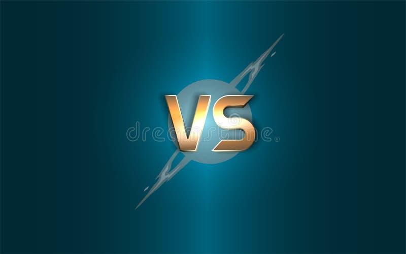 Versus background. Gold letters logo on the background lightning. Vector illustration. vector illustration