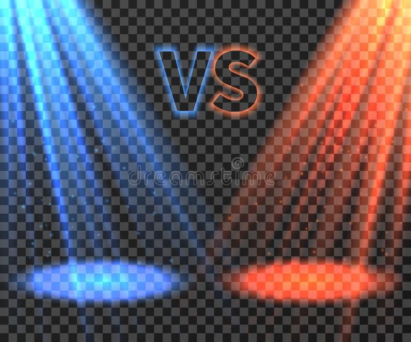 Versus batalistyczny futurystyczny ekran z błękita i czerwieni promieni wektoru jarzeniową ilustracją royalty ilustracja