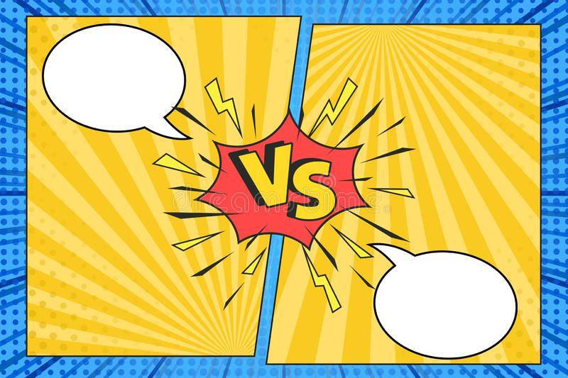 Versus comic frame. Vs comics book clash frames with cartoon text speech bubbles on halftone stripes background vector template. royalty free illustration